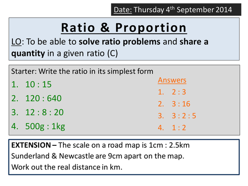 KS4 Ratio - Sharing / Dividing in a Quantity by ryangoldspink ...