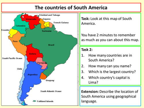 Map Of America Ks2.The Countries Of South America By Chri2834 Teaching Resources