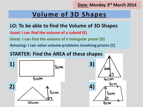 Volume Of 3d Shapes Triangular Prisms Cylinder By