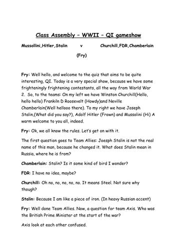 WW2 Class Assembly Script (QI script) by iamgregdavies   Teaching
