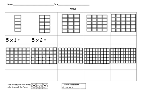 Arrays 5 time tables by ruthbentham Teaching Resources Tes – Division Arrays Worksheets