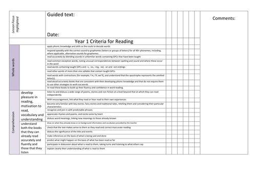New Curriculum : Guided reading record Sheets.