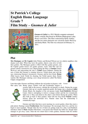 Gnomeo & Juliet - Middle School Film Study by TanyaMatthews ...