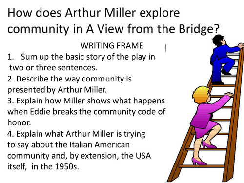 essays on a view from the bridge by arthur miller A view from the bridge is a play written by arthur miller it is set in the 1950s when it was more than common that italians were rushing into america the.