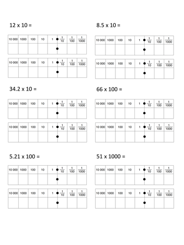 Multiplying and Dividing by 10, 100, and 1000