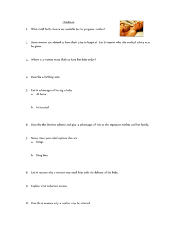 Worksheets for Child Development GCSE by mary.hardiman - Teaching ...