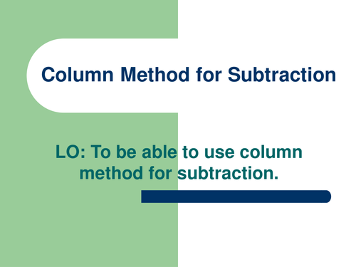 YEAR 3 COLUMN SUBTRACTION by abegum5002 Teaching Resources Tes – Column Subtraction Worksheets Ks2