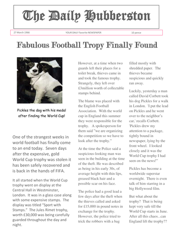Newspaper - World Cup Pickles the Dog finds trophy