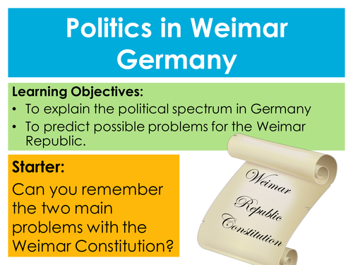 the new weimar republic and political At the beginning of their careers — loewenstein as a liberal political theorist, speier as a social-democratic sociologist — they were two of the weimar republic's few good guys, powerfully defending democracy's legitimacy against its authoritarian critics.