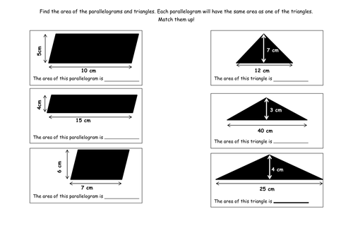 Area of triangle and parallelogram worksheet by jad518nexus – Area of Parallelograms Worksheet