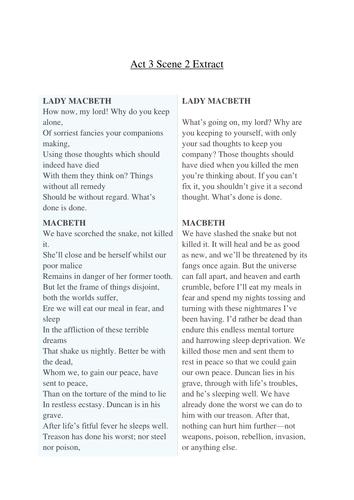 Year 9 Macbeth Scheme of Work - Lesson 12