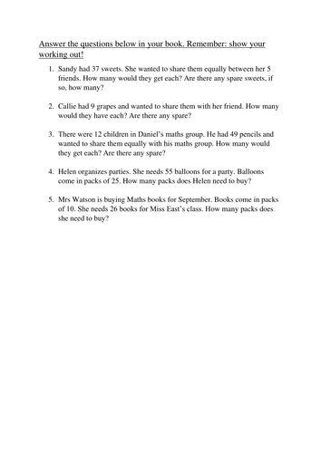 Division with remainder word problems by MissEastsClass - Teaching ...