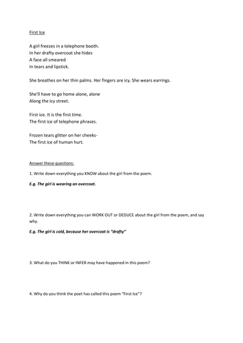 Year 7: Poetry SoW -  Lesson 1