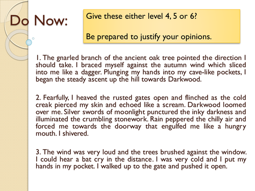 Year 7: Descriptive Writing SoW - Lesson 12