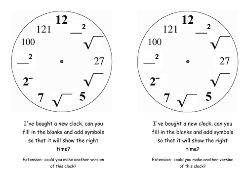 Squares cubes and roots clock by DrewSherratt Teaching – Square Root Worksheets