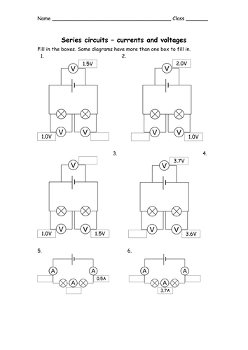 Printables Parallel Circuit Worksheet series and parallel circuits voltage current by big fat goth teaching resources tes