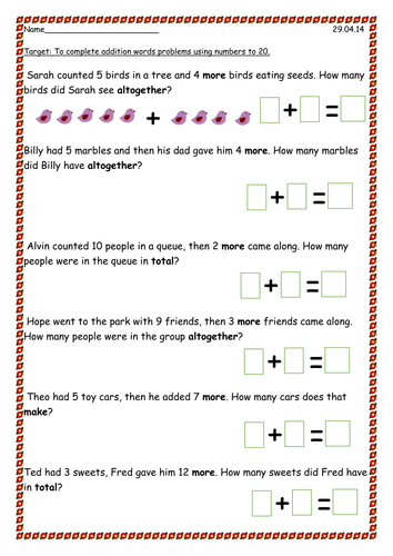 How To Write A Word Problem For Addition