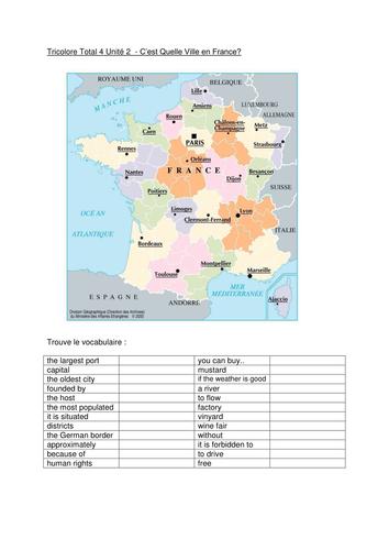 les villes en France - towns in France