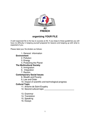 A2 French student handbook