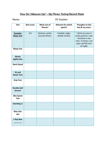 Fitness Test Record Sheet By Mrliamo Teaching Resources Tes