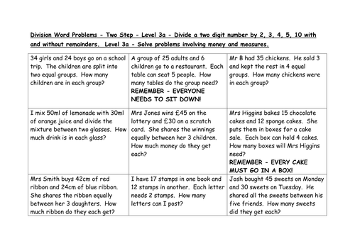 2-step word problems division levels 3a, 4c, 4b by EmmaStead ...