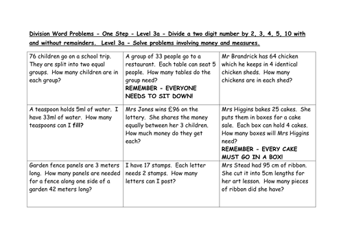 Division word problems Levels 3a 4c 4b by EmmaStead Teaching – Division and Multiplication Word Problems Worksheets