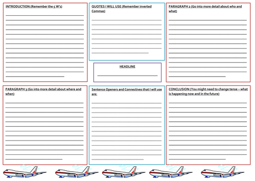 Newspaper report planning template by nahoughton uk for Report writing template ks1
