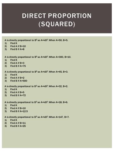 gcse direct proportion worksheet by uk teaching resources tes. Black Bedroom Furniture Sets. Home Design Ideas