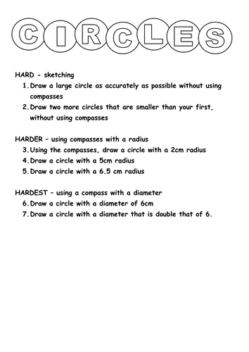 Using A Compass To Draw A Circle Teaching Resources