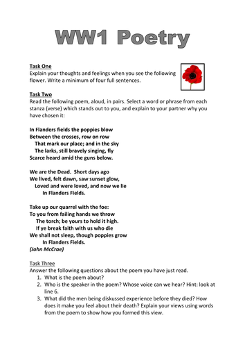 ww1 poetry worksheet 39 in flanders fields 39 by dmcclean03 teaching resources. Black Bedroom Furniture Sets. Home Design Ideas