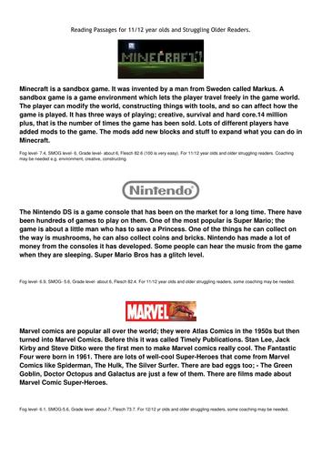 Reading Passages - Minecraft, Nintendo & Marvel