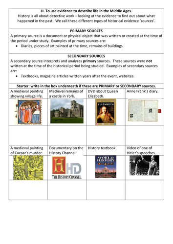 Primary and secondary sources: starter by EmilyTostevin - Teaching ...