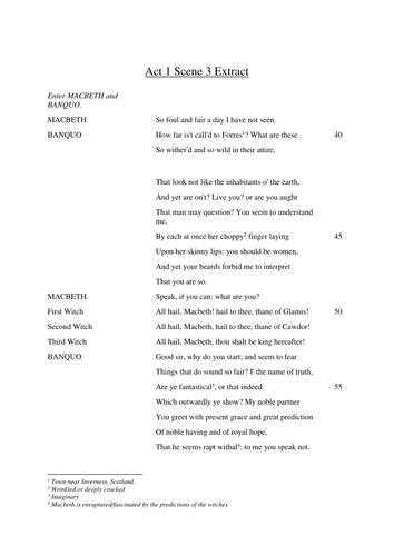 Year 9 Macbeth Scheme of Work - Lesson 4