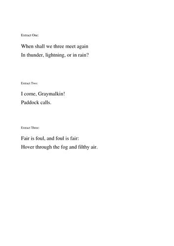 Year 9 Macbeth Scheme of Work - Lesson 3