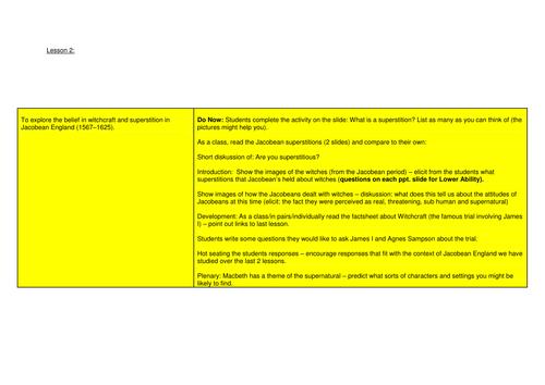 Year 9 Macbeth Scheme of Work - Lesson 2