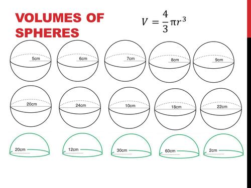 volume of spheres worksheet by holyheadschool uk teaching resources tes. Black Bedroom Furniture Sets. Home Design Ideas