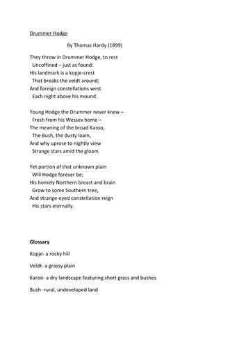 'Drummer Hodge' Exercise (Thomas Hardy)