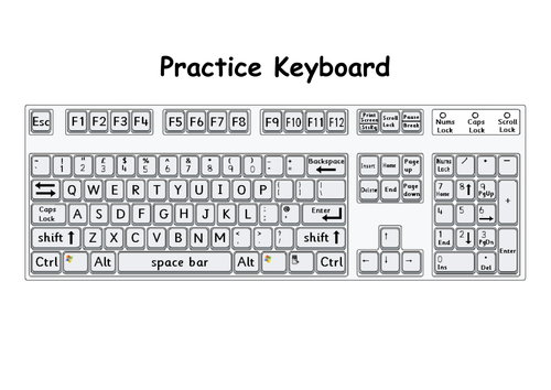 Printable keyboard for typing practice | Teaching Resources