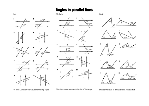 Angles in parallel lines level 6Grade C by mrobertson1987 – Angles Worksheet