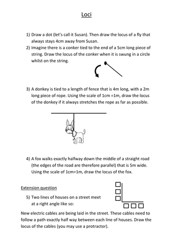 Loci worksheet (loci of a point, straight line...) by gladys8 ...