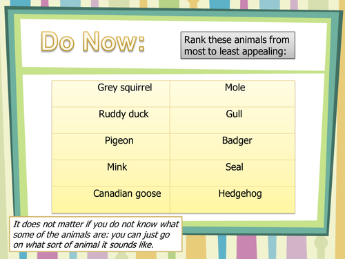 Yr 8 Reading Mini Unit  (Animal Rights): Lesson 3