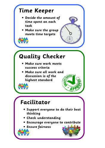 Collaborative Teaching Resources ~ Collaborative cooperative learning group role cards