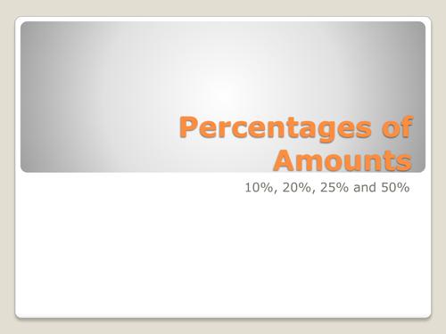 Percentages of Amounts Qwizdom