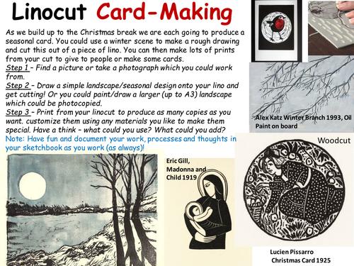 Christmas cards - lino printing