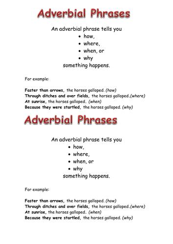 Adverbial Phrase Worksheets Ks2 - Worksheets