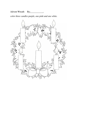 Advent Wreath Coloring Sheet Five Candles