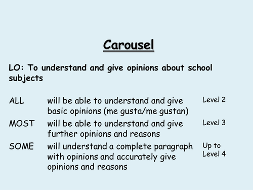 School subjects and opinions carousel (Spanish)