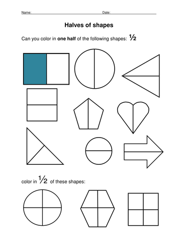 Halves of Shapes Worksheets, Lesson Plans and Plenary by