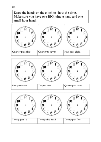 Time Worksheets time worksheets to the nearest 15 minutes : Time Worksheets : half past time worksheets for grade 1 Half Past ...
