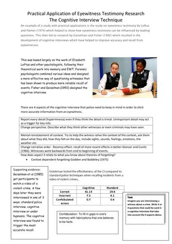 Eyewitness Testimony Activitiesworksheets By Smanfaa Teaching